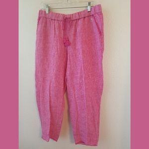 Talbots NWOT Pink Linen Crop Pants Sz 4